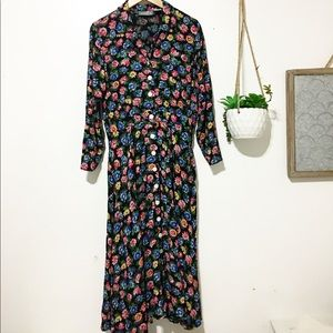 Vintage / flower print button down dress